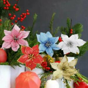 10-Pcs-Glitter-Poinsettia-Flowers-Christmas-Wreath-Tree-Decorations-Xmas-Gift