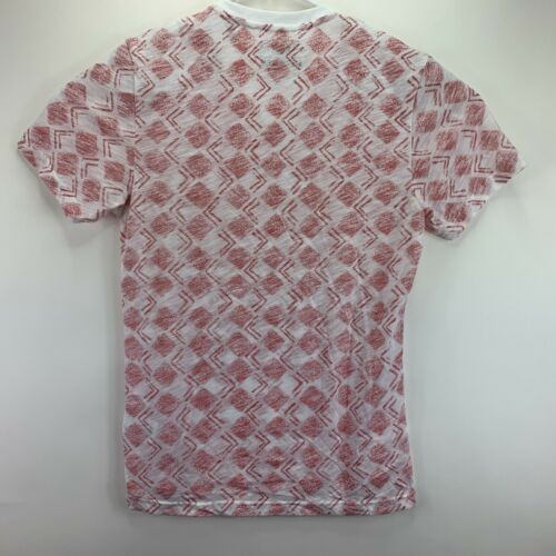 American Rag Mens V-Neck Geometric Short Sleeve T-Shirt White Red Blue