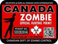 Canada Zombie Hunting License Permit 3x 4 Decal Sticker Bio Maple Leaf 1326