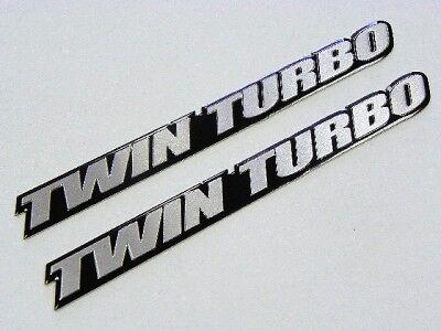 2 POWER BOAT ENGINE TWIN TURBO ALUMINUM EMBLEMS BADGES