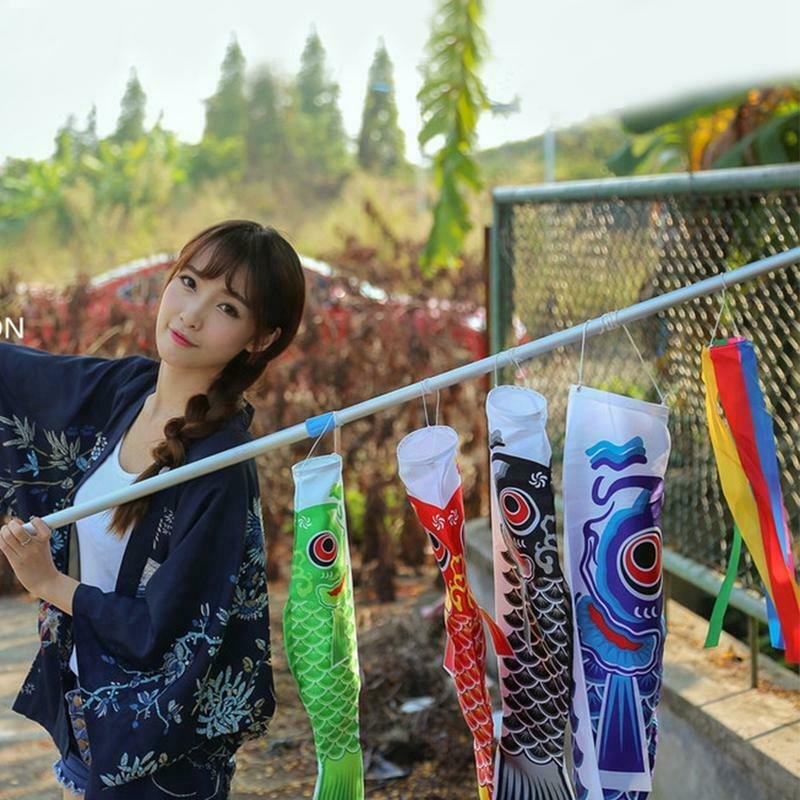 55cm Koi Nobori Carp Wind Socks Koinobori Colorful Fish Flag Hanging Wall Decor