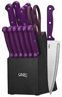 Kitchen 14 Piece Knife Block Set Ginsu Cooking Stainless Steel Knives Purple