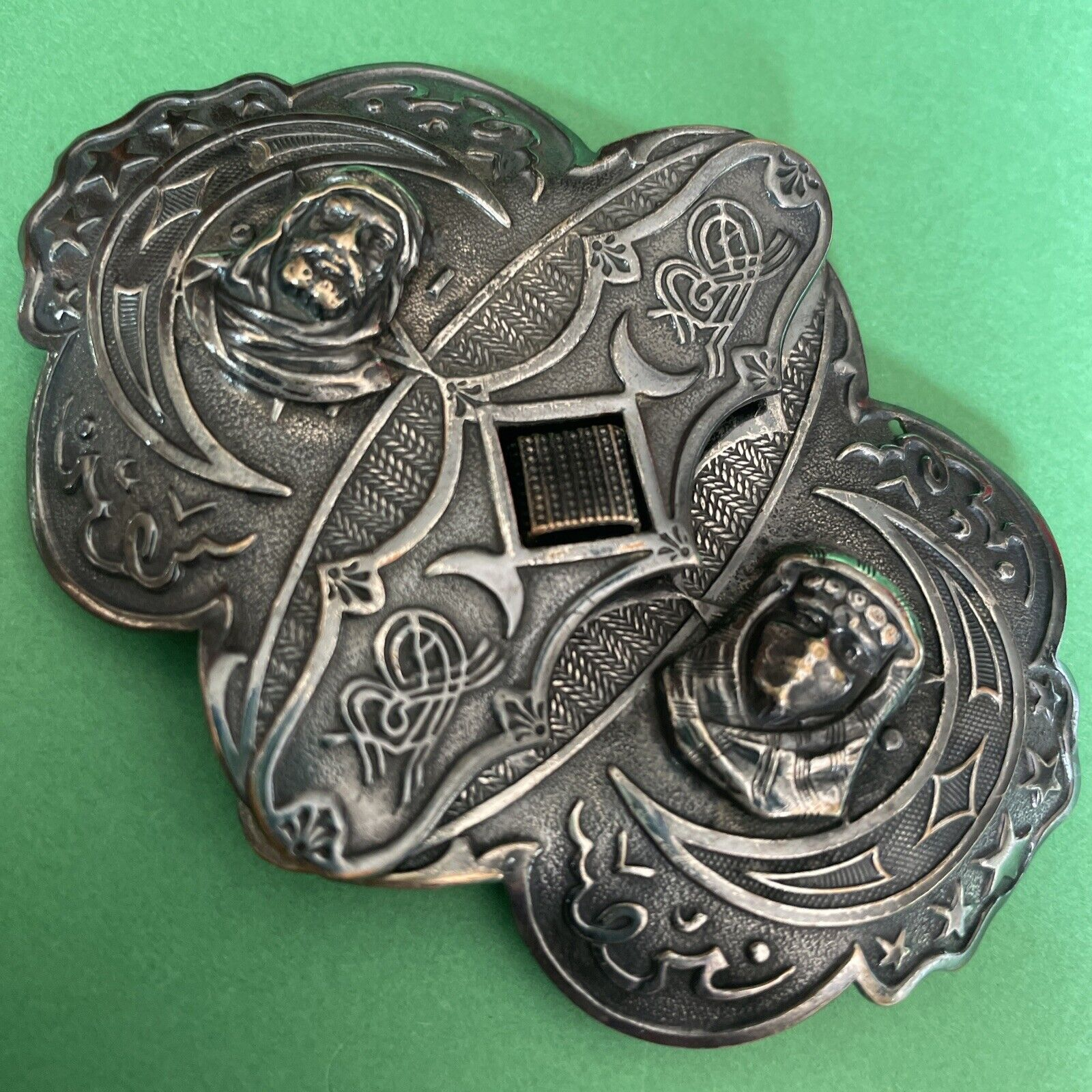 Antique Marked Depose With Medieval Lord / Lady Figure Heads ~ Belt Buckle