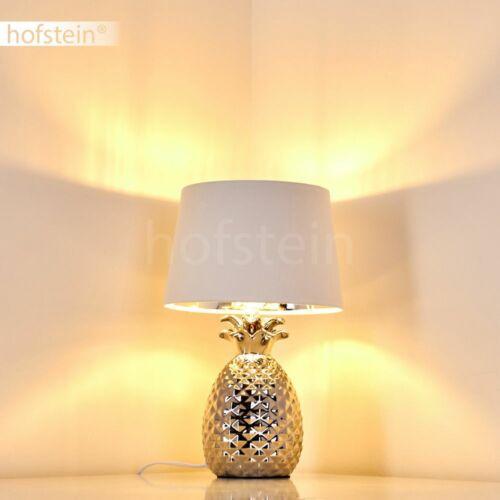 Stoff weiß Keramik silber Nacht Tisch Lese Lampen Wohn Schlaf Zimmer Beleuchtung