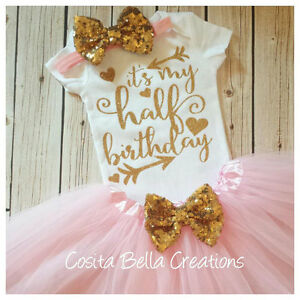 9b1ff5d8e505 Image is loading Half-birthday-outfit-pink-and-gold-half-bodysuit-
