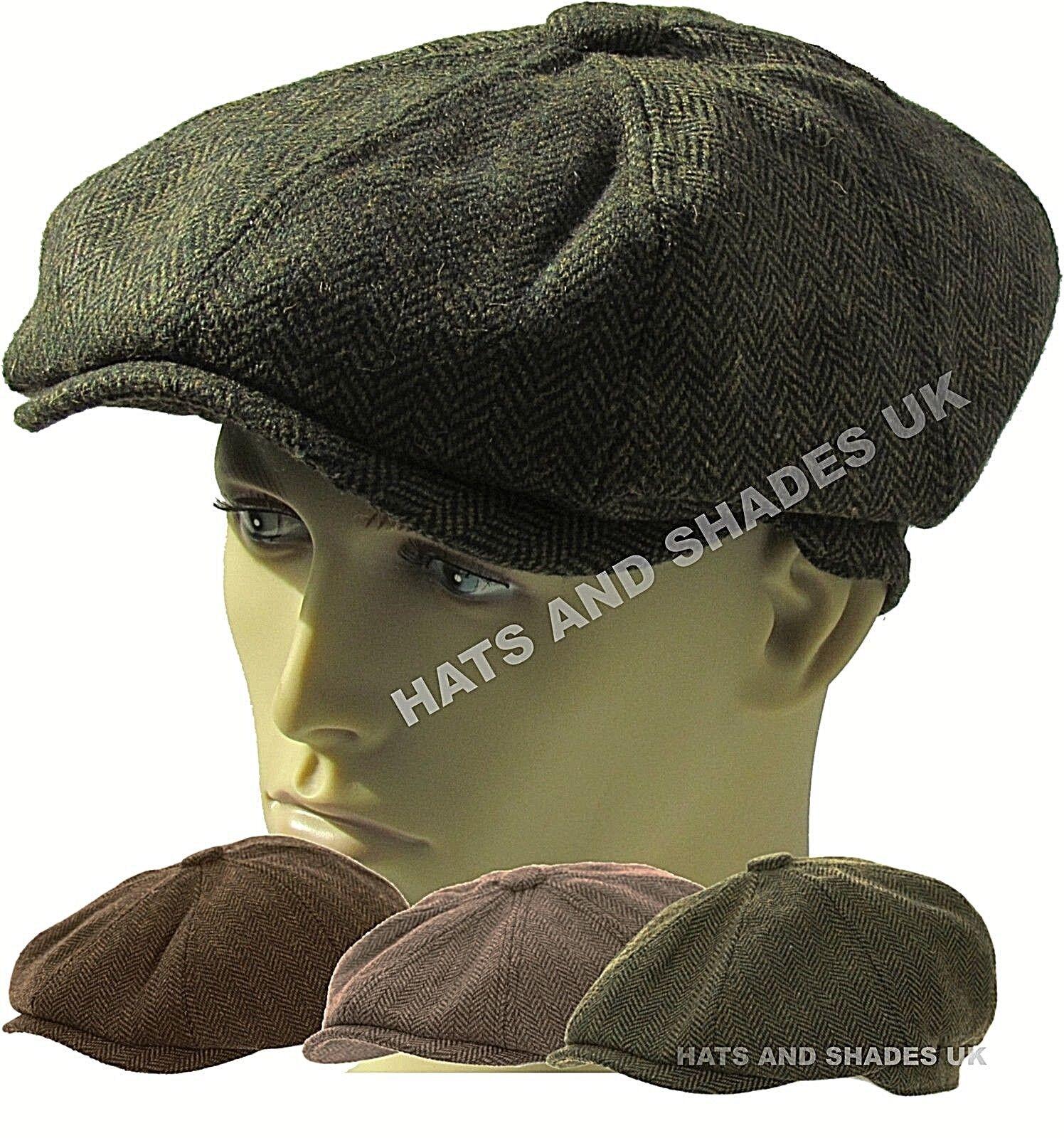 f6680f85af1 Mens Wool Flat Cap Peaked - 8 Panel Herringbone Check Racing Hat Beating  Newsboy 58cm Dark Brown for sale online