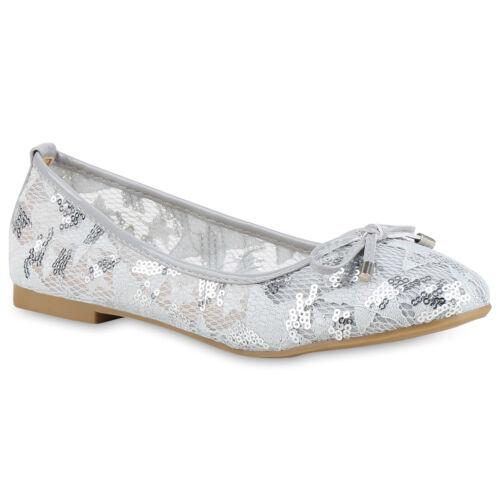 Damen Klassische Ballerinas Flats Spitze Pailletten Schleifen 822011 Schuhe