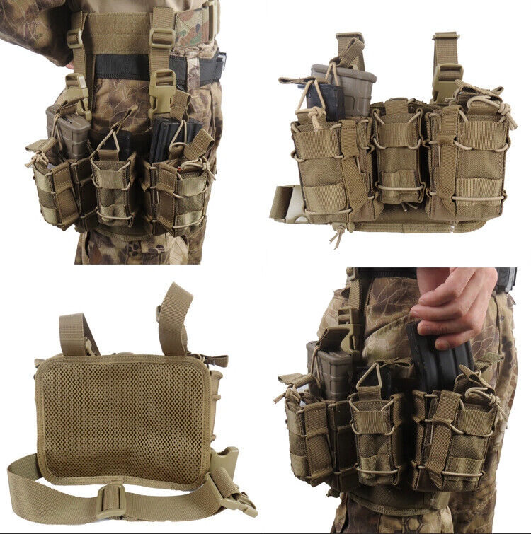 Tactical Drop Leg Magazine Pouch Molle Panel Hanging Hunting Bag Carrier Set
