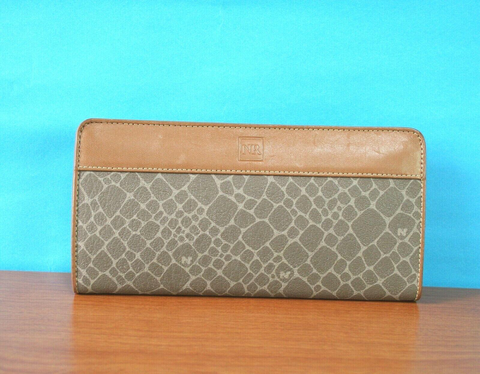 NINA RICCI Brown Leather & Canvas Zip Around long Slim Wallet Card Holder purse