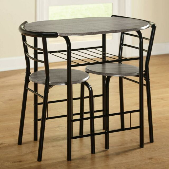 Black Natural 3 Pcs Dining Table Set Chairs Kitchen Dinette Pub Small Space  Bar