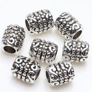 50-Tibetan-Silver-Craving-Tube-Charm-Spacer-Bead-Bracelet-Jewelry-Finding-6x5mm