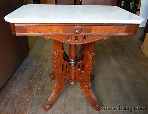 Antique victorian burled walnut italian marble top coffee for Antique victorian marble top coffee table