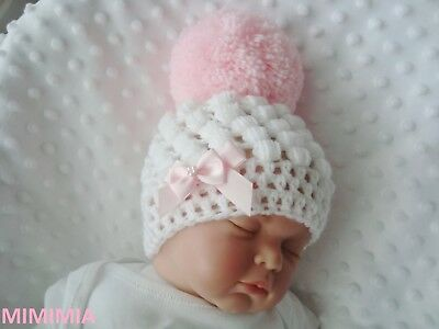 baby crochet white pull on hat girl 2 baby pink bows pink pompom hand made