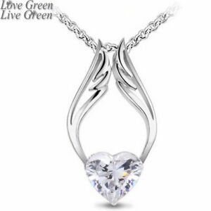 ANGEL-WINGS-PENDANT-NECKLACE-Heart-with-Crystals-18K-White-Gold-Plated