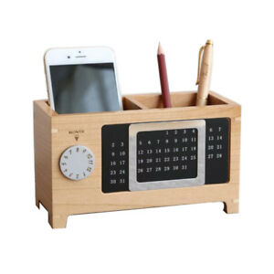 Office-Pen-Holder-Calendar-Wooden-Pen-Pot-Desk-Week-Organizer-Pencil-Stand-New
