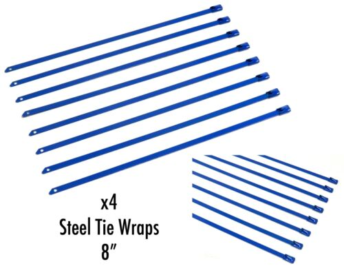 """8/"""" UNIVERSAL STAINLESS STEEL CABLES ZIP TIES X4 BLUE"""