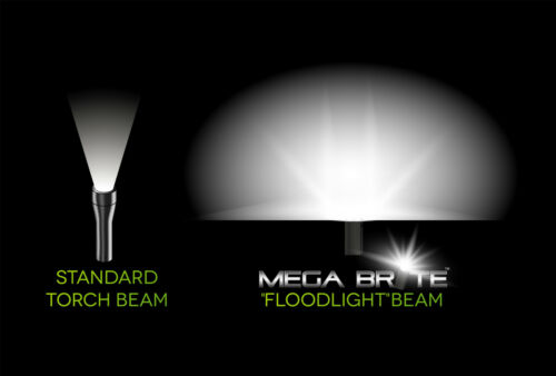 Mega Brite Torch lightweight travelling torch. The ultimate floodlight