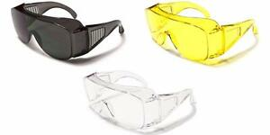 8f2b326a41 Image is loading Polycarbonate-Safety-Glasses-wear-over-normal-Spectacles -Clear-