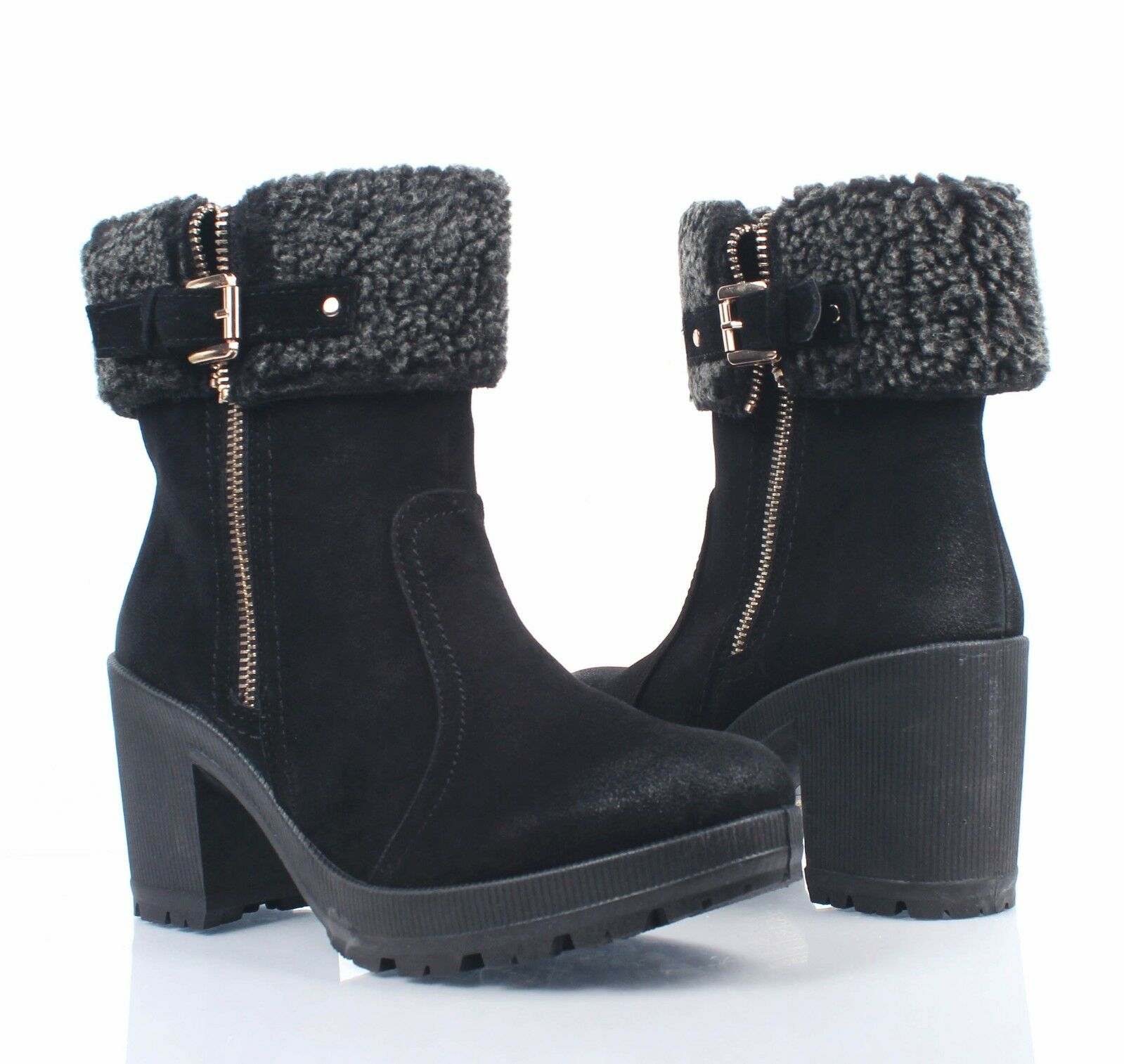 """Black Faux Fur Combat Military Chunky 3"""" High Heels Womens Mid-Calf Boots Size"""