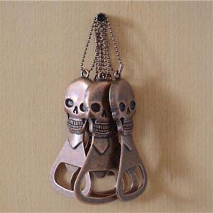 Beer-Bottle-Opener-Vintage-Copper-Skull-Head-Skeleton-Keychain-Halloween-Gift