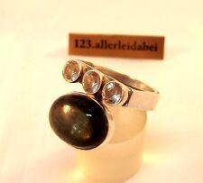 Top Labradorit Bergkristall Ring 925 er Silber Finnland 1974 Modernist / AZ 195