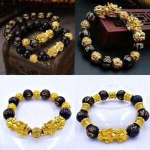 Feng-Shui-Black-Plated-Obsidian-Alloy-Wealth-Bracelet-Unisex-Wristband-Gold-CA