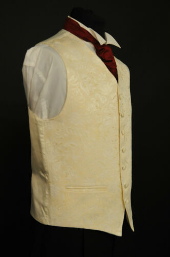 Kid/'s gold floral pattern waistcoat wedding party suit W-450a dress
