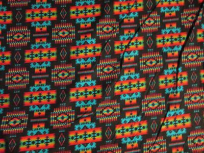 Navajo Indian Black Mulit Overall Print Cotton Fabric 9 x 44 Inch Scrap Piece