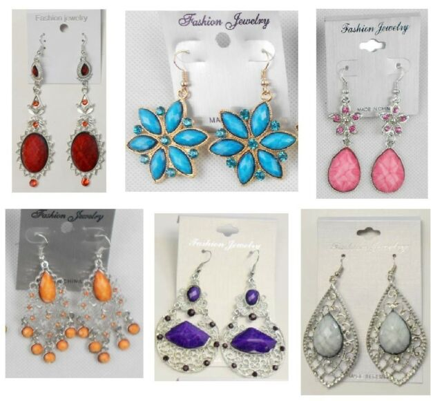 WE-30 Wholesale Jewelry lot 4 pairs Mixed Style Drop Fashion Dangle Earrings