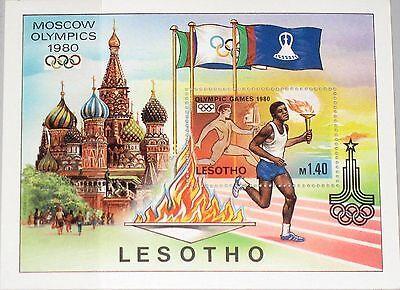 Ausdauernd Lesotho 1980 Block 5 296 Olympics Moscow Games Kremlin Kreml Running Misha Mnh Attraktiv Und Langlebig