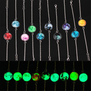 Details About Glowing Moon Universe Glow In The Dark Gl Cabochon Bracelet Jewelry Uk Ornate