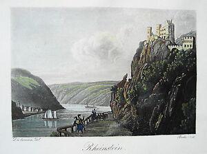 Burg-Rheinstein-Rhein-Trechtingshausen-altkolorierte-echte-alte-Aquatinta-1834