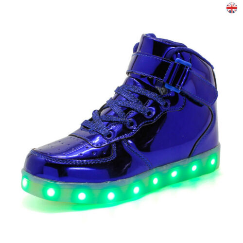 Womens Kids Children Flashing LED Light Up Shoes USB Charger Luminous Trainers