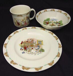 Royal-Doulton-Bunnykins-3-Piece-Set-Oatmeal-Bowl-Hug-A-Mug-amp-8-034-Plate-New