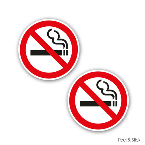 STKPN00077 2 x NO SMOKING RED STICKERS SIGNS WATERPROOF Self Adhesive Sticker
