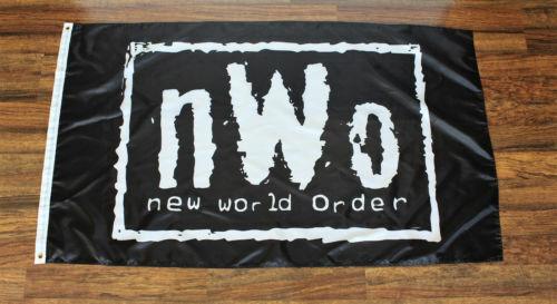 New World Order Banner Flag NWO Wrestling WCW WWE WWF USA Shipper Black New