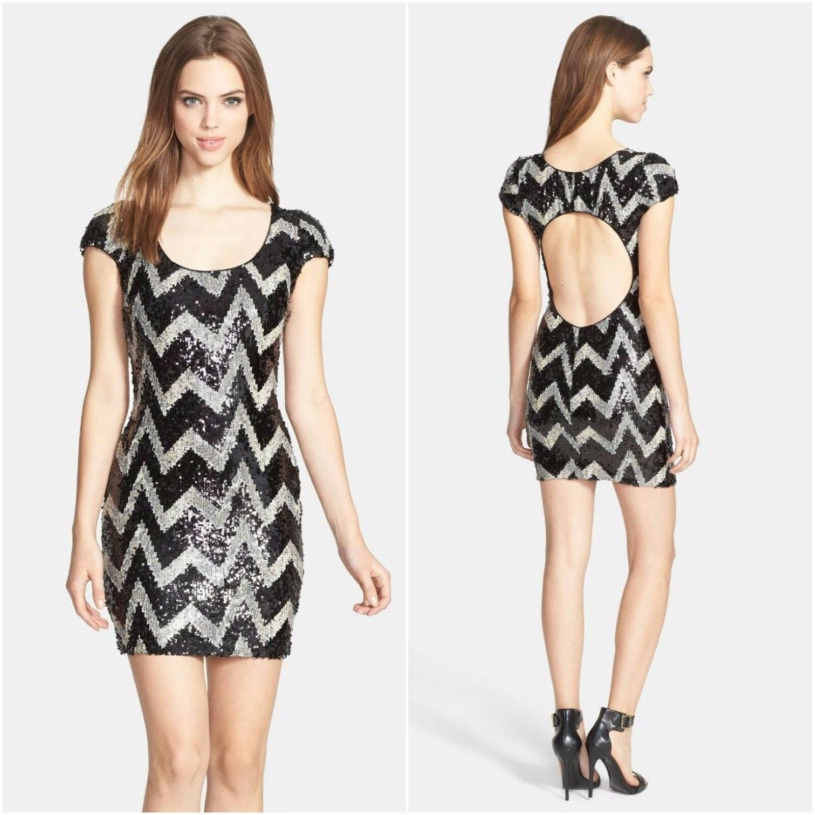 NEW Dress the Population Gabriella Chevron Body-Con Minidress [Small]  N676