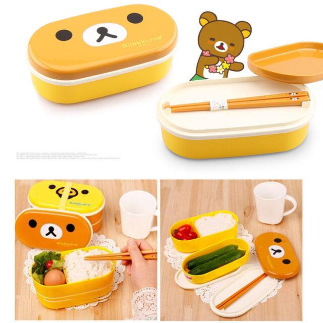Cute Rilakkuma San-X Cute Lunch Box Bento with Chopsticks High Heat Resistance