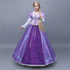 new arrival ae925 df164 Details about Tangled Rapunzel Disney Cosplay Costume Kostüm Abend-kleid  Princess Long Dress