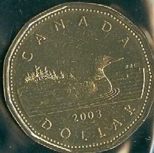 2003-PL Proof-Like $1 Loonie One Dollar /'03 Canada Coin UNC BU W-Mark Winnipeg