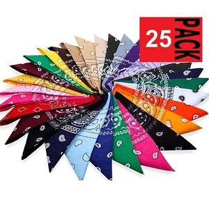 25-x-Paisley-BANDANA-COTTON-Head-Wrap-Neck-Scarf-ASSORTED-COLOURS-Black-Red