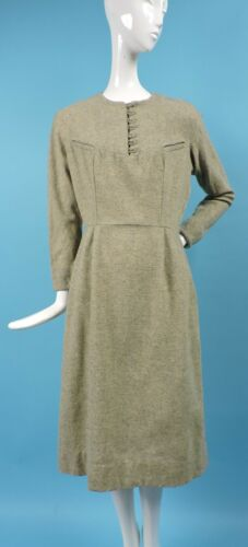 VINTAGE 1940'S FINE WOOL DRESS W MINIATURE CHEST P