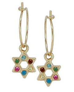 d0aefff8fd1df Details about Gold 24K Plated Hoop Earrings Drop Dangle Star of David Charm  Multi Color Stones