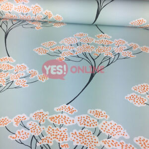 Image Is Loading Banyan Tree Wallpaper Oriental Turquoise Light Blue Orange