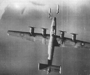 RAF-B-24-Hit-by-Bombs-Mid-Air-Amazing-Photo-WWII-WW2-World-War-Two