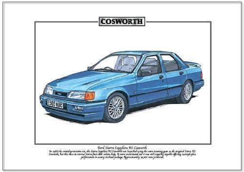 FORD Sierra Sapphire Rs Cosworth-FINE ART PRINT-A4