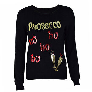 Women-Novelty-Christmas-Xmas-Prosecco-Jumper-Sweater-Ladies-Pullover-Casual-Tops