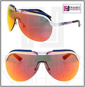 54a1ab43df7a CHRISTIAN DIOR SOLAR Orange Pink Blue White Flash Mirrored Metal ...