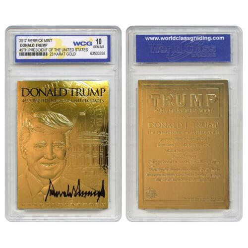 DONALD TRUMP 45th President 23K GOLD Sculpted SIGNATURE Card GEM-MINT 10 LOT 3