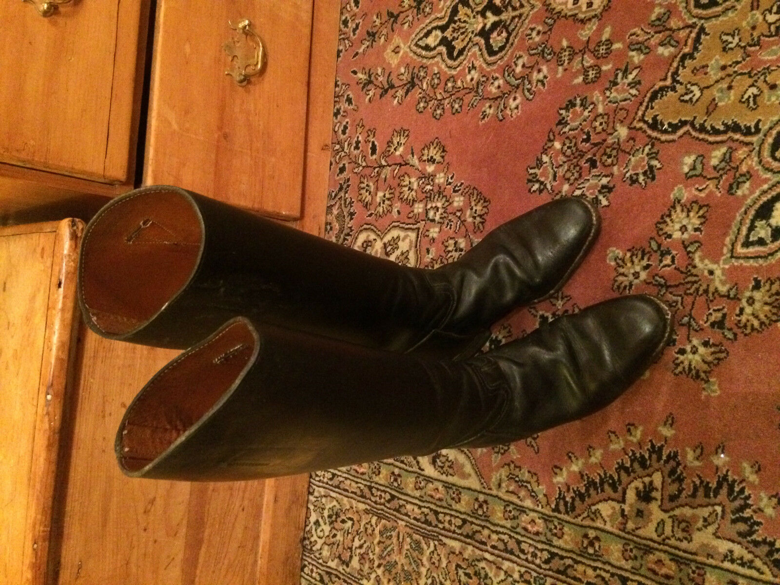 Ladies Konig long leather riding hunting boots size 4 re-soled and heeled - vgc.
